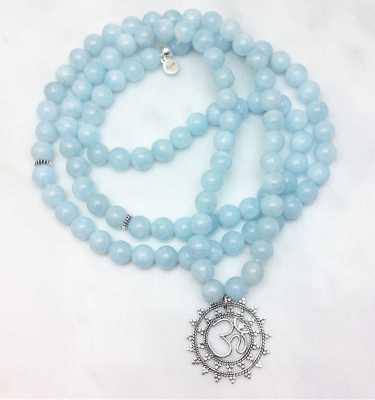 Aquamarine Mala Necklace with OM