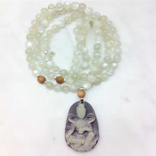 Kwan Yin Mala Necklace in Moonstone