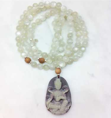 Kwan Yin Mala Necklace in Moonstone