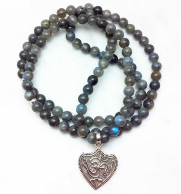 labradorite mala necklace with OM