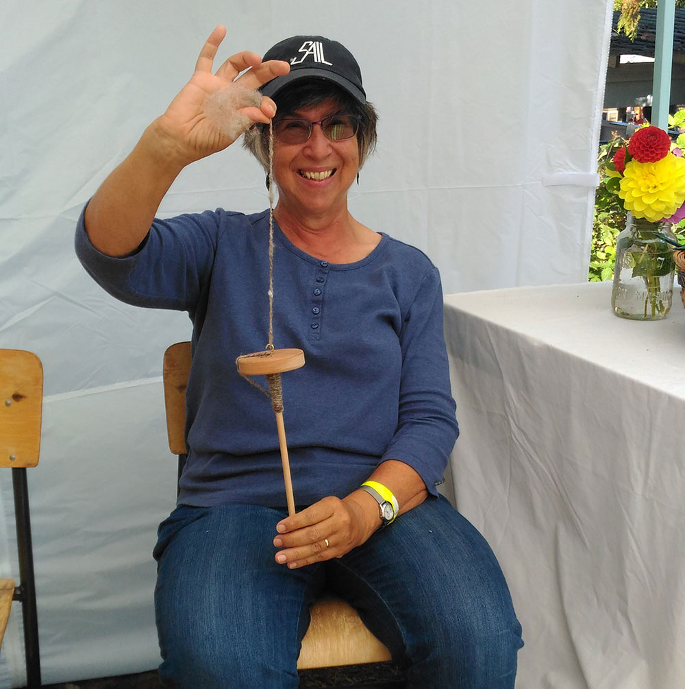 Weaving classes and spinning classes at the fall fair.