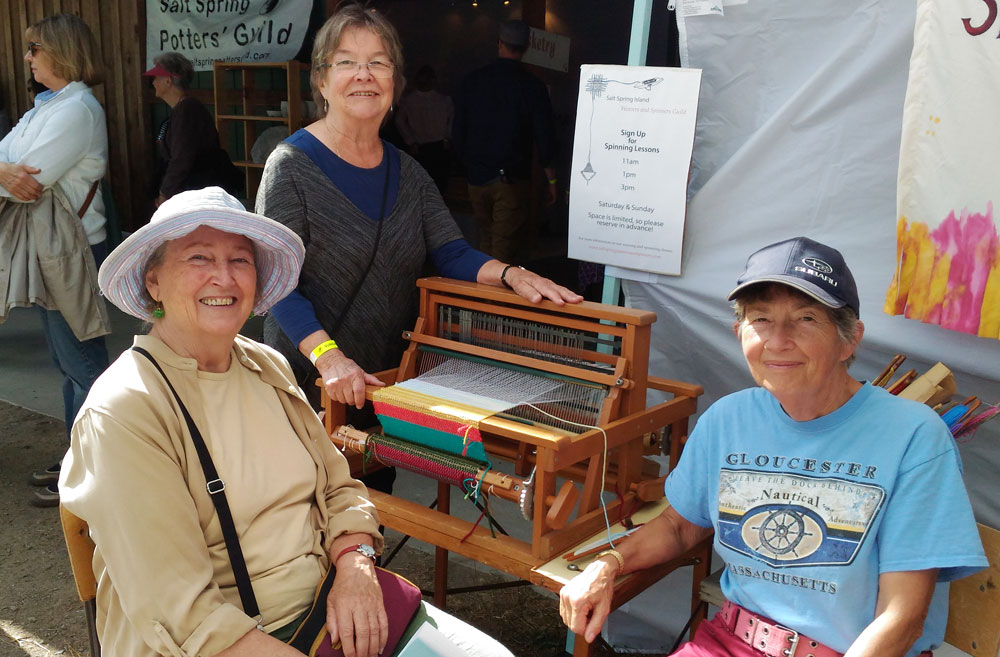 Salt Spring Island Spinners and Weavers Guild members relax at the Fall Fair.