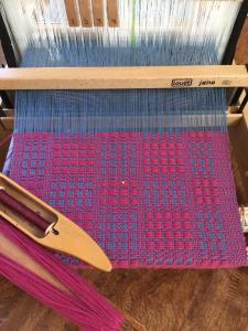 Monk Belt Table Runner on loom in progress by Lisa