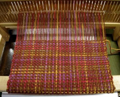 Log cabin scarf on Rigid heddle loom