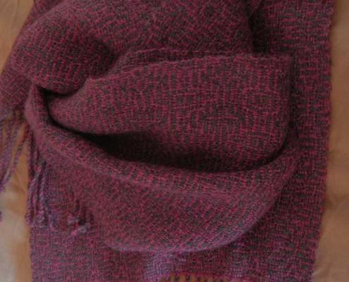 Alpaca silk blend scarf handspun and handwoven by Sandra