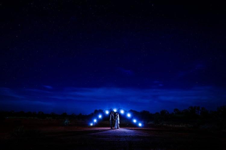 Bride Groom Outback wedding night
