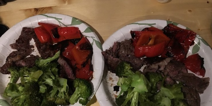 Steak Mix Grill with Bell Pepper and Broccoli