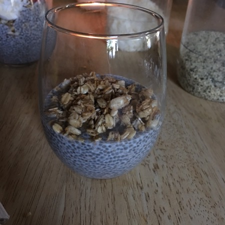 Chia seed pudding with granola