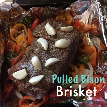 Pulled Bison Brisket with garlic and peppers