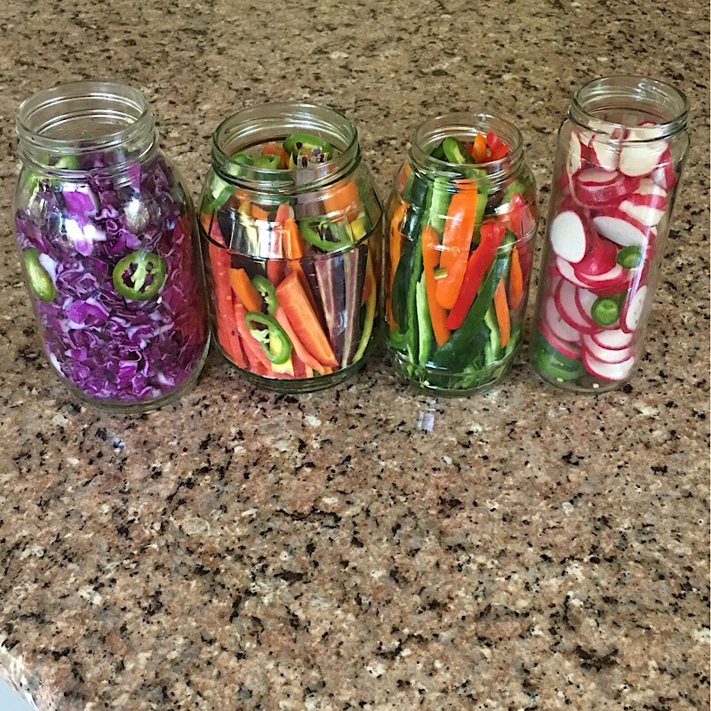Crunchy quick pickle radish carrots cabbage peppers