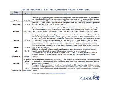reef tank parameters chart most important water parameters
