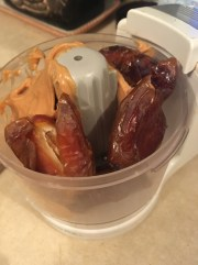 5) Puree pitted dates and peanut butter until dates are smooth and combined with peanut butter