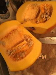 3) Cut pumpkin in half
