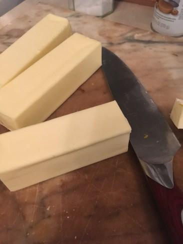 2) Chop frozen butter into smaller pieces