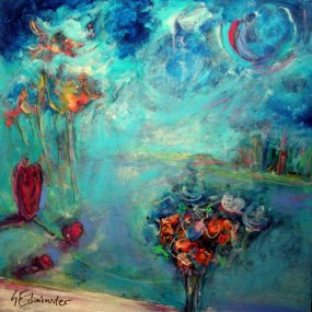 """Turquoise Window World, Suzanne Edminster, Acrylic on Canvas, 24"""" x 24"""", sold"""