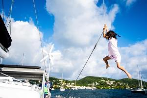 Our little boat girl swinging for joy in Culebra Puertohellip