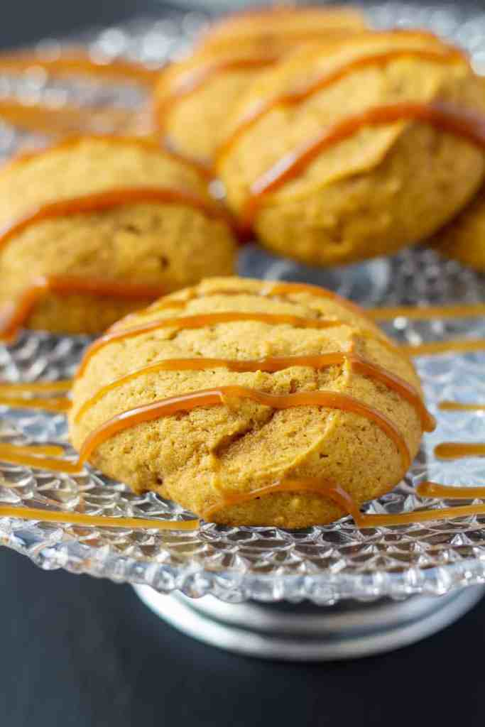 pumpkin cookies with caramel drizzled on top