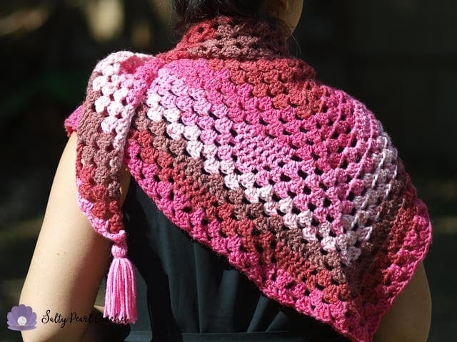 Bless Your Heart Granny Triangle Shawl Pattern Salty Pearl Crochet