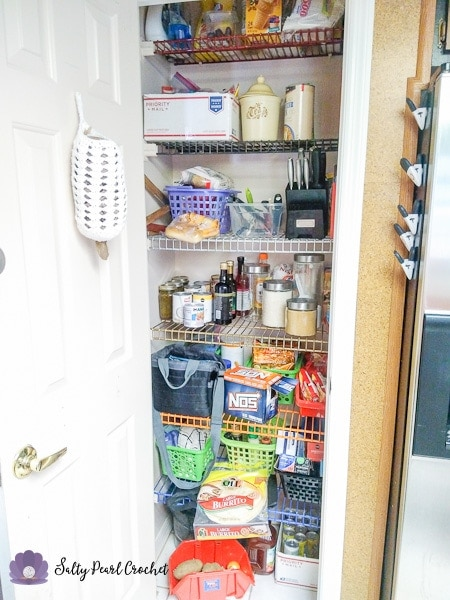 Stacked Shells Grocery Bag Sleeve - My new functional pantry- complete with a pretty plastic bag holder.