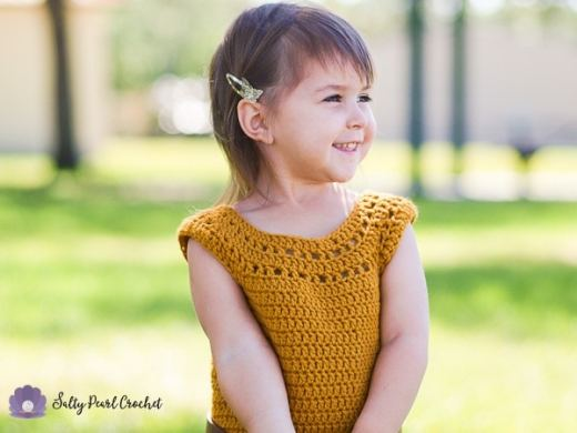 Dandelion Tunic Dress- a free crochet pattern made with Caron One Pound Yarn at SaltyPearlCrochet.com