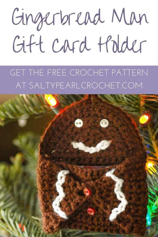 Gingerbread Hugs Gift Card Holder Free Crochet Pattern For