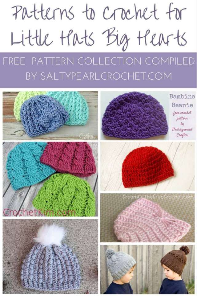 A collection of FREE crochet patterns to make for Little Hats Big Hearts compiled by SaltyPearlCrochet.com