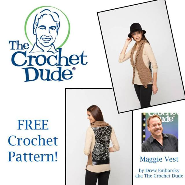 Maggie Vest by the Crochet Dude - part of a boho crochet vest pattern collection curated by SaltyPearlCrochet.com.