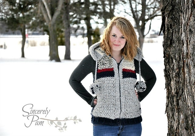 Marek Vest by Sincerely Pam - part of a boho crochet vest pattern collection curated by SaltyPearlCrochet.com.