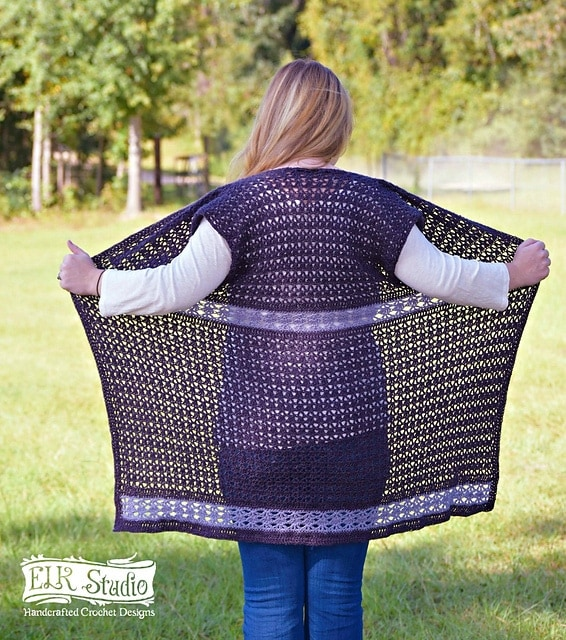 Southern Diamonds Long Vest - part of a boho crochet vest pattern collection curated by SaltyPearlCrochet.com.