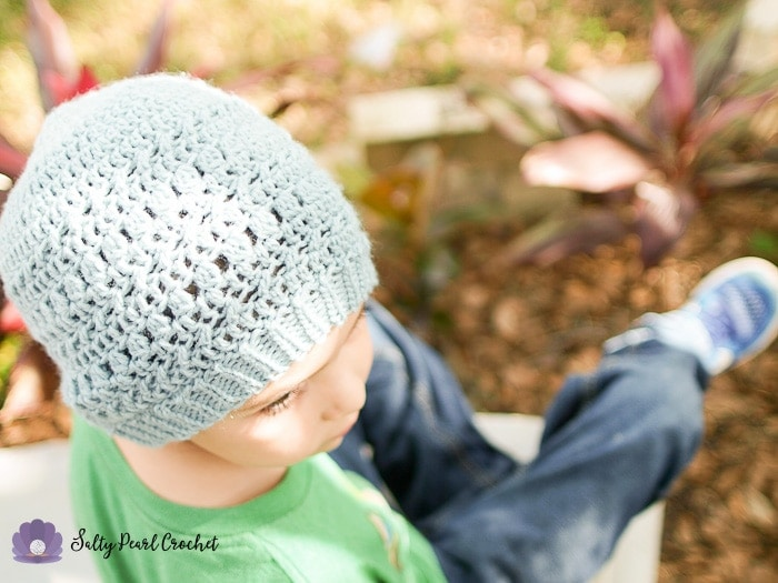 Find the free textured crochet beanie pattern for the XO Textured Toque on SaltyPearlCrochet.com!