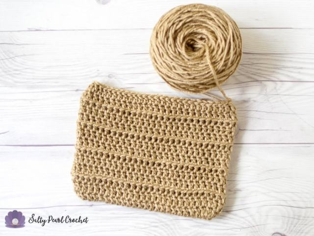 The base layer of the Crochet Fringe Clutch purse, before the edging and trim.