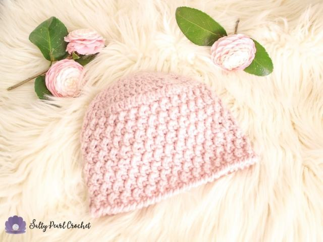 Textured Crochet Hat Pattern First Blooms Beanie Salty Pearl Crochet