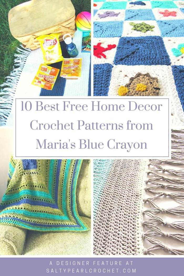 10 Free Home Decor Crochet Patterns from Maria\'s Blue Crayon • Salty ...