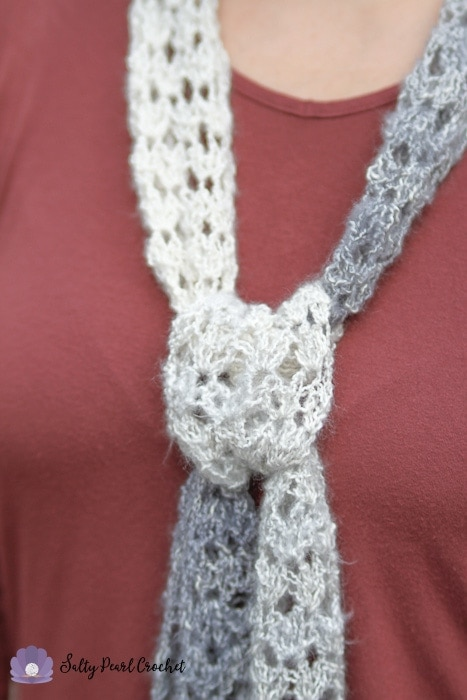 Free Crochet Summer Scarf Pattern Diamond Lattice Salty Pearl Crochet