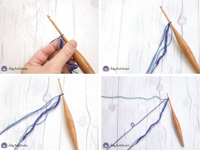 A collage of four images showing this easy crochet chain counting tip in 20, 30, 40 chains.