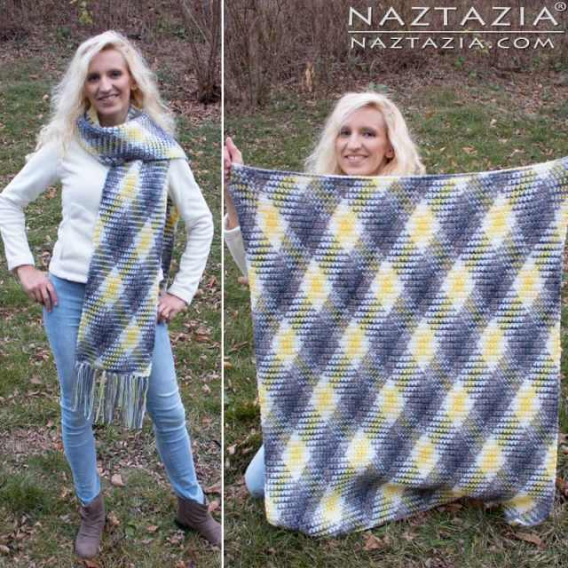 Split photo of a woman wearing a planned pooling super scarf and displaying a planned pooling crochet afghan pattern.