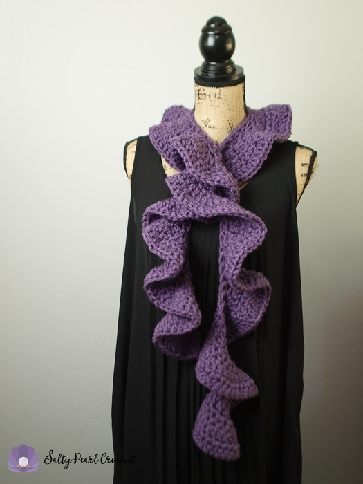 Full length view of the chunky ruffle scarf on a dressform.
