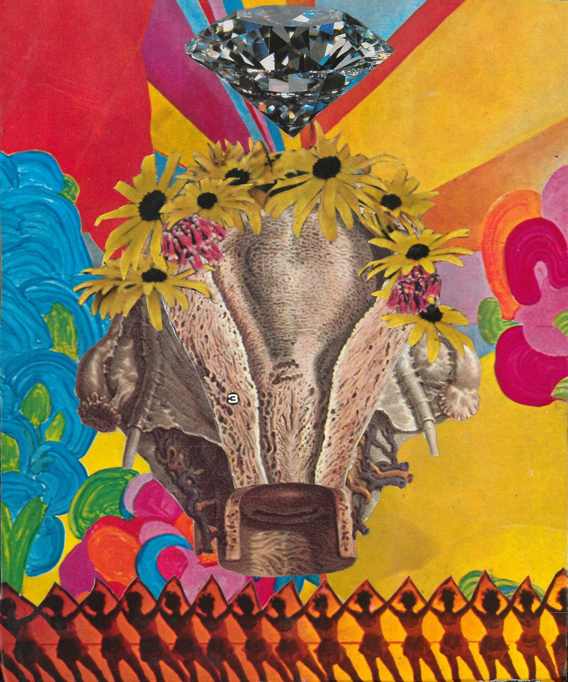 colorful collage artwork featuring flowers, a diamond, and female dancers