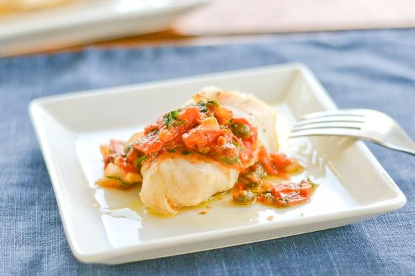 Cod with Herbed Tomato-Caper Compote