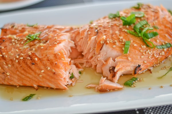 Broiled Ginger Salmon with Honey Glaze