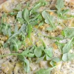 Artichoke, Mozzarella and Arugula Pesto Pizza