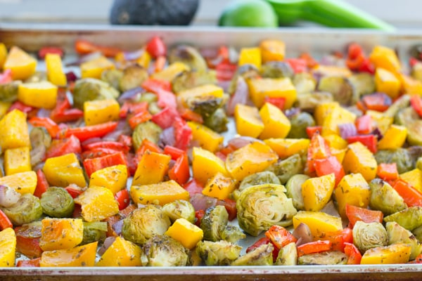 Roasted Veggie Salad with Avocado Dressing