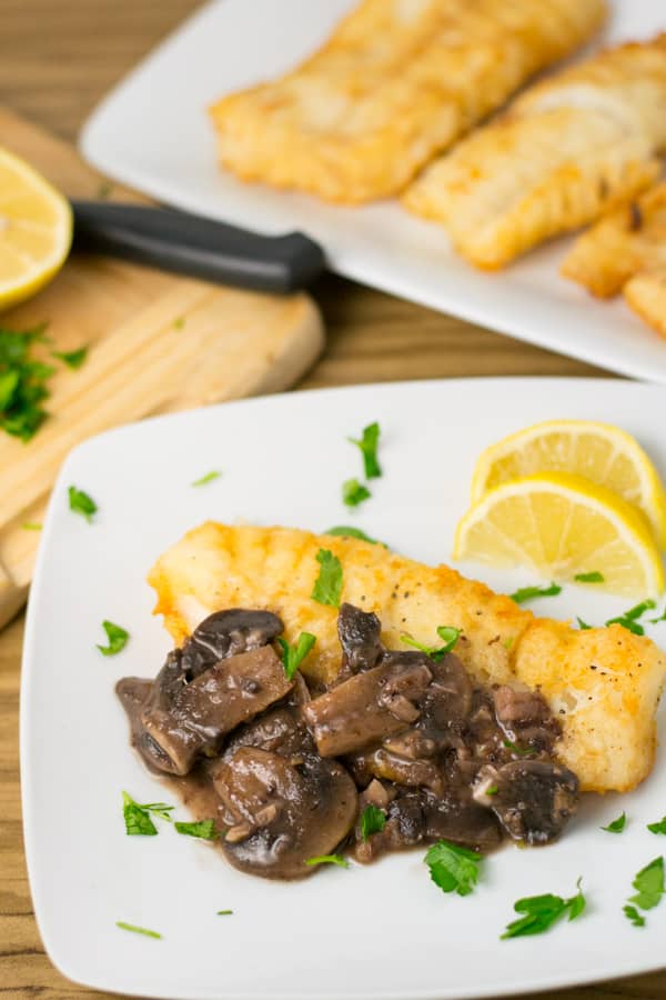 Cod with Red Wine Mushroom Sauce