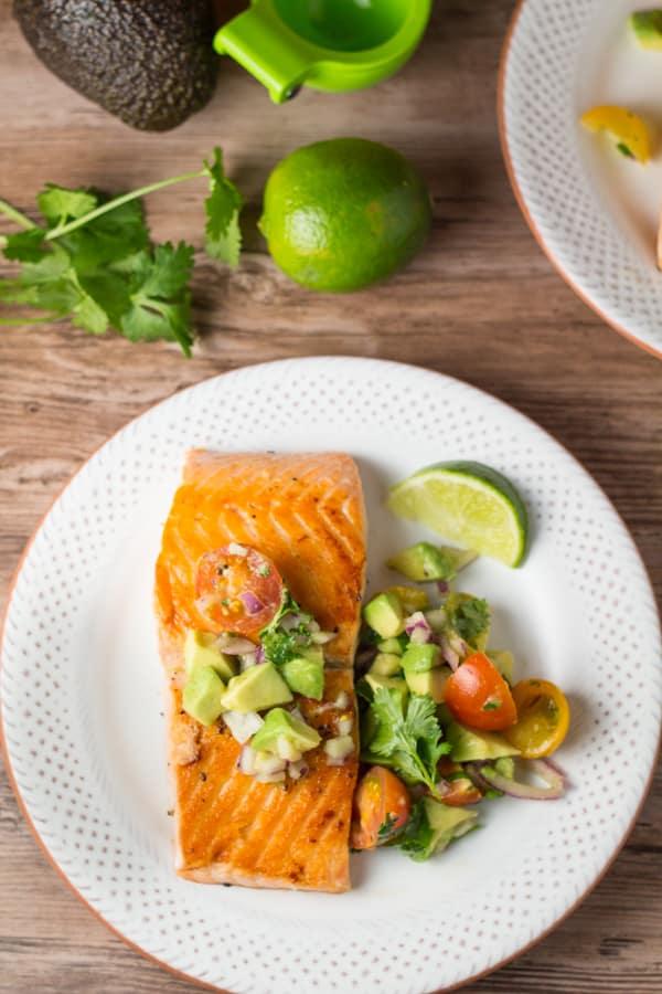 Crispy Pan Grilled Salmon with Avocado Lime Salsa