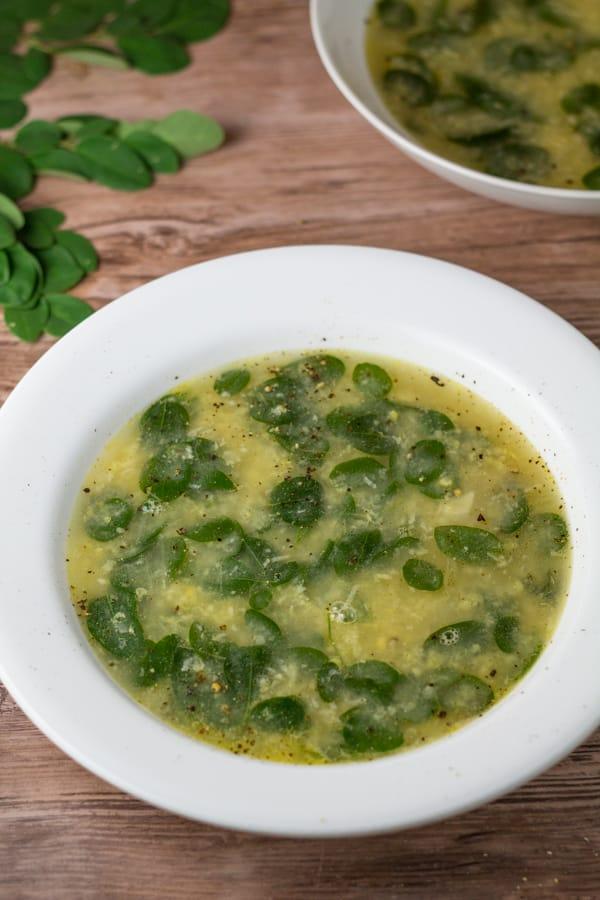 Suwam na Mais (Corn and Moringa Soup)