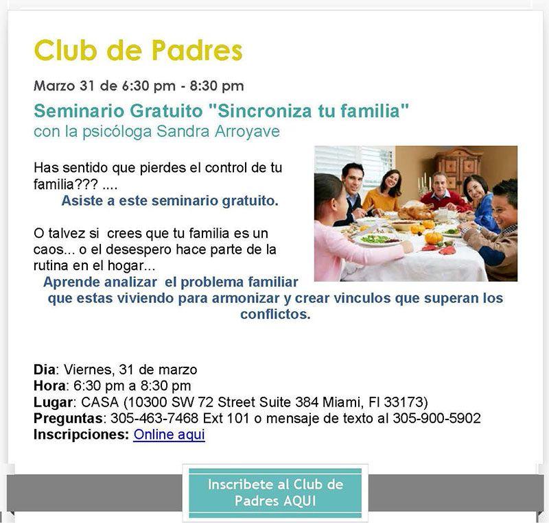 """CASA Seminario Gratuito """"Sincroniza tu familia"""""""