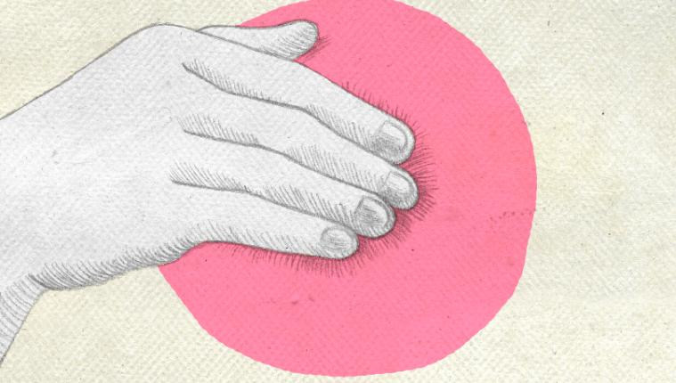 Dibujo de una mano tapando un pecho. Cáncer de mama