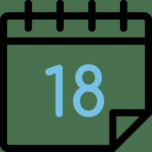 Calendario con el número 18