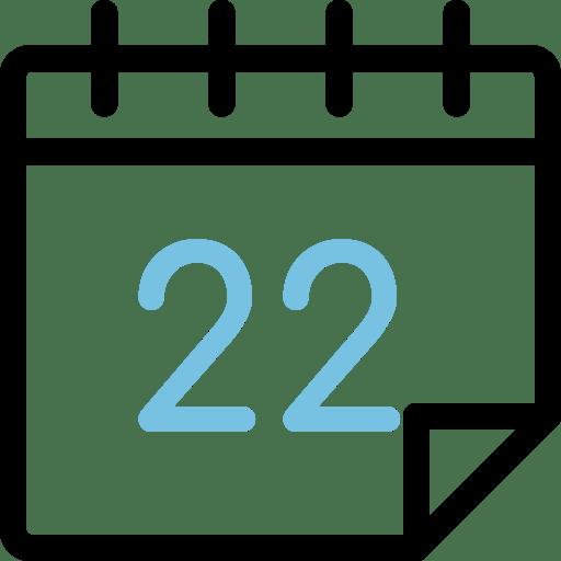 Calendario con el número 22