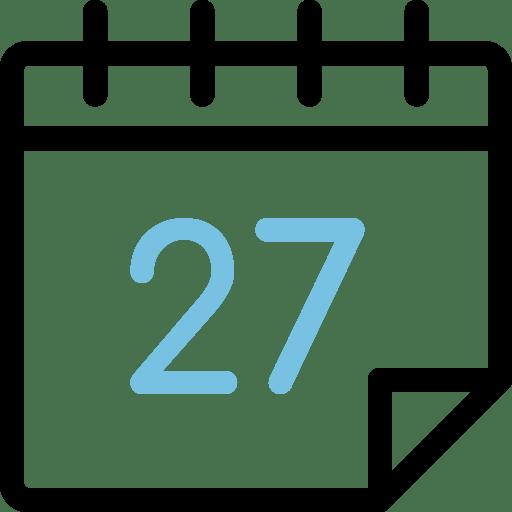 Calendario con el número 27